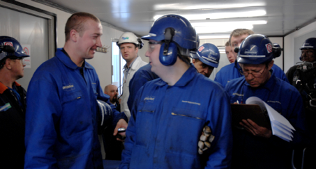Central European Staffing employees during their training before the trip to Tipton, Scotland, May 2008